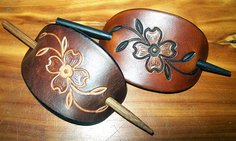 Dogwood Flower Leather Barrette with wooden stick | Small