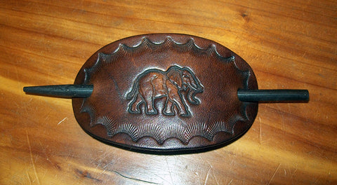 Leather Hair Slide Small Elephant