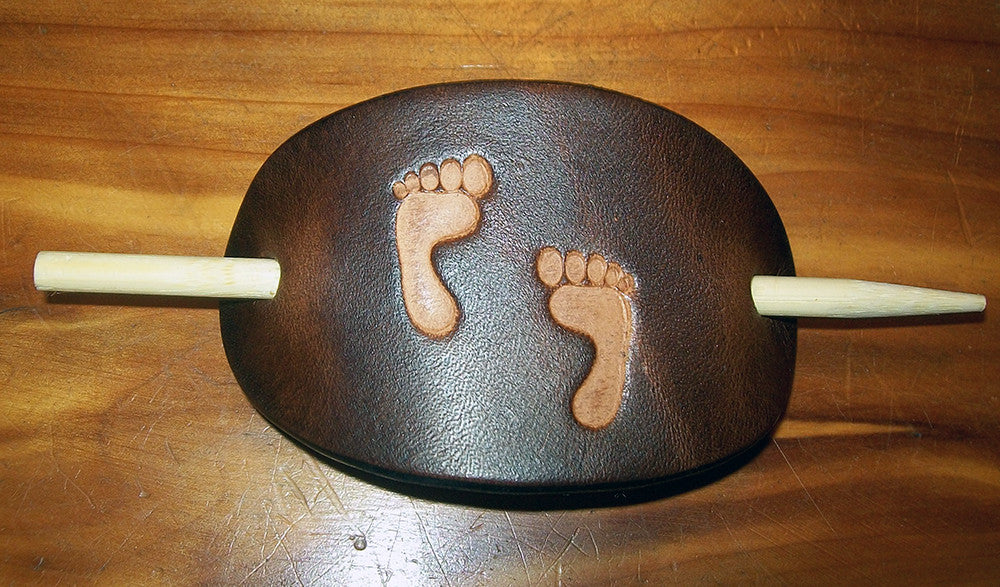 Foot Prints Small Leather Stick Barrette