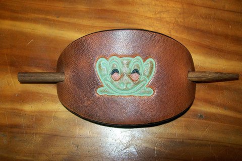 Small Leather Stick Barrette Cute Frog