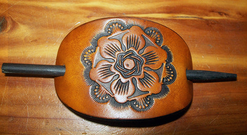 Hand Tooled Leather Barrette - Small Antique Flower