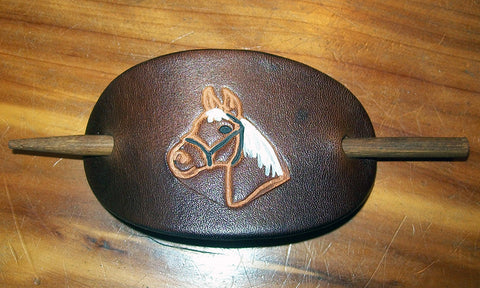 Handmade Leather Barrette with Horse Design