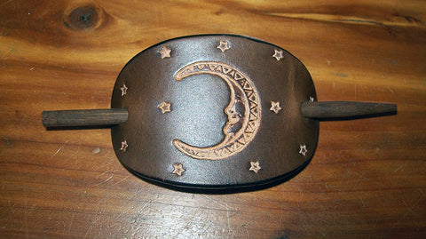 Celestial Moon and Stars Leather Stick Barrette - Small