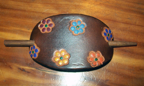 Hand Painted Multi Flower Small Leather Barrette