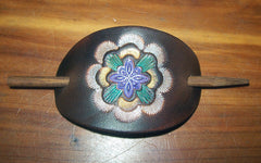 Leather Barrette Small Painted Geometric