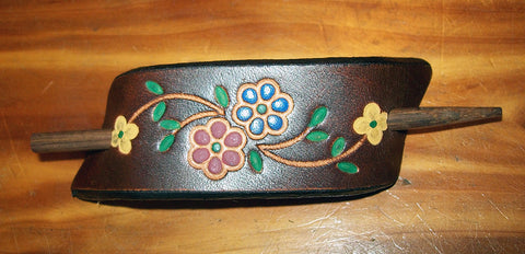 Wildflower Leather Stick Barrette - Small