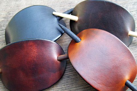 Plain Leather Stick Barrettes