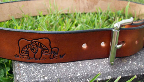 Retro Leather Belt with Mushrooms | Personalized FREE!