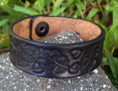 Vintage Oak Leaf Leather Bracelet