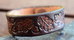 Oak Leaves Leather Wristbands