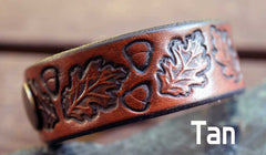 Oak Leaves Leather Bracelet
