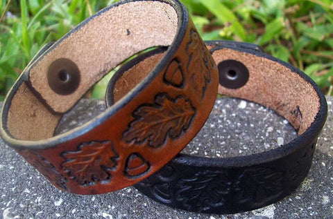 Handmade Leather Bracelets | Vintage Tooled Oak Leaf Design