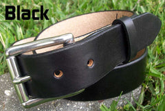 Plain Black Leather Belt