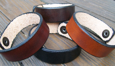 Narrow Leather Wristbands Personalized FREE!
