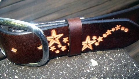 Celestial Star Trail Handmade Leather Belt
