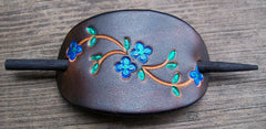 Leather Stick Barrette Bright Blue Flower
