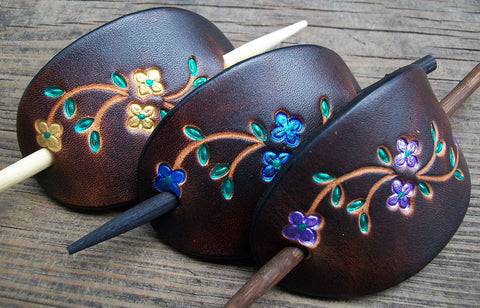 Small Leather Stick Barrettes | Bright Flowers