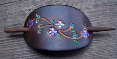 Bright Purple Flowers Leather Hair Barrette