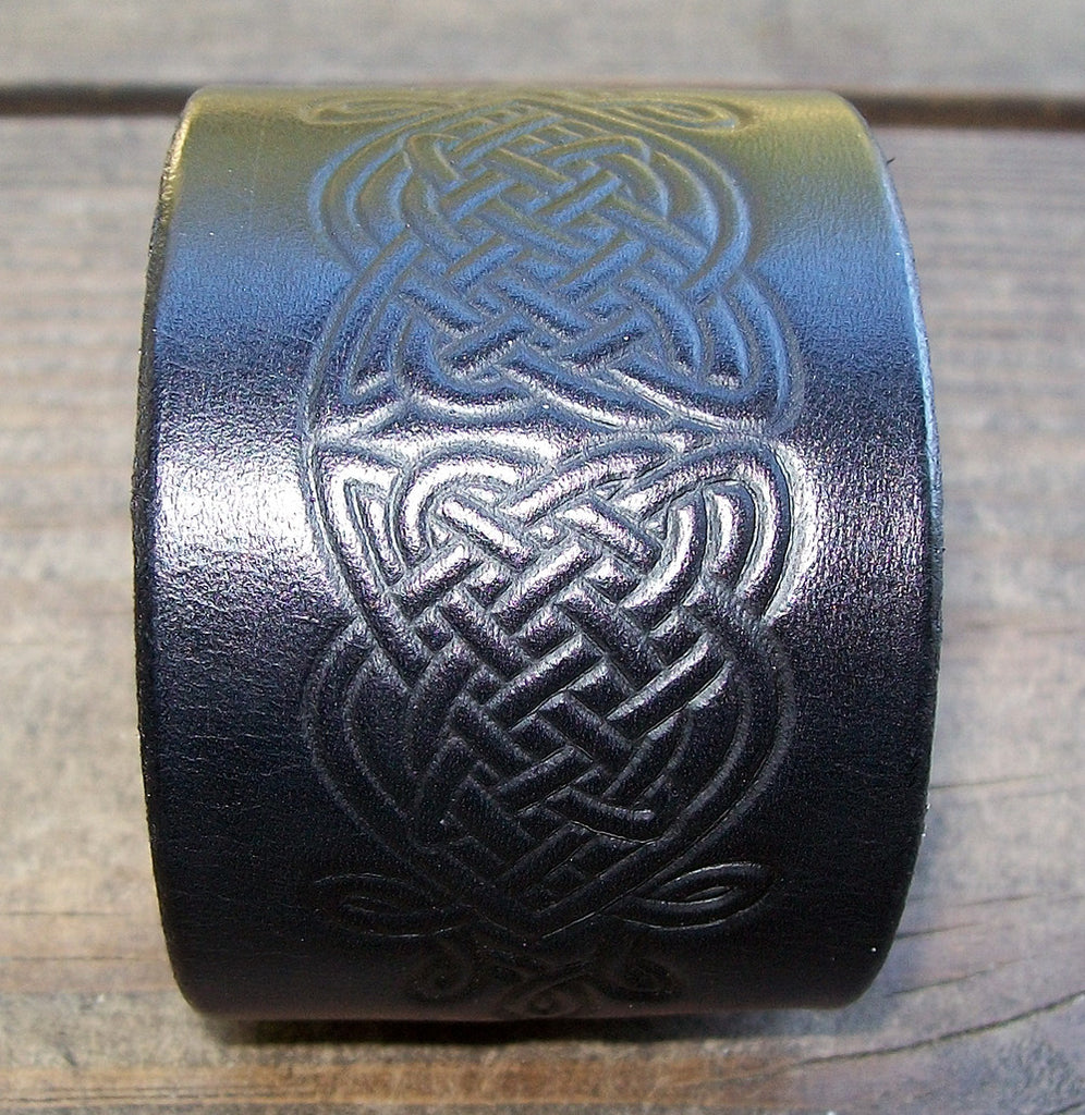 10737e85d75 Wide Leather Cuff Bracelets Celtic Knot – Old School Leather Co.