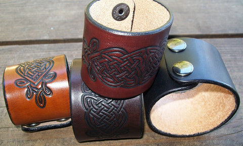 Wide Leather Cuff Bracelets Celtic Knot