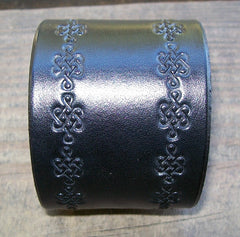 Wide Black Leather Wristband