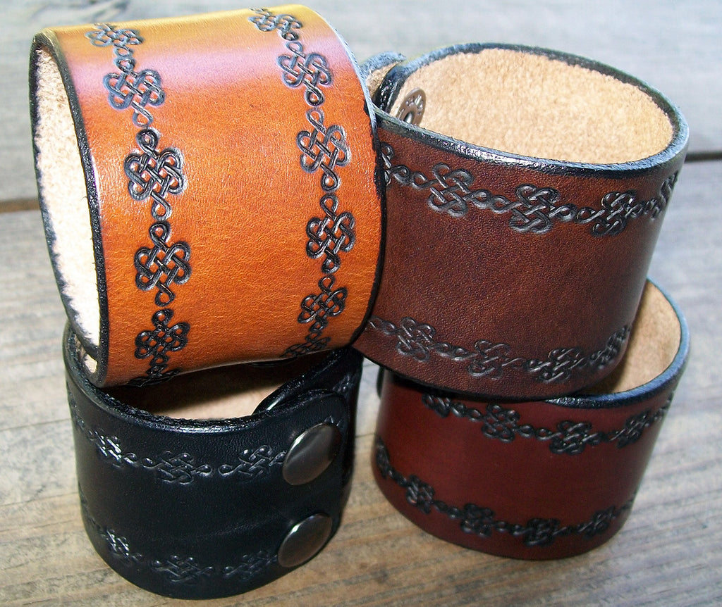 Celtic Knot Wide Leather Wrist Cuffs