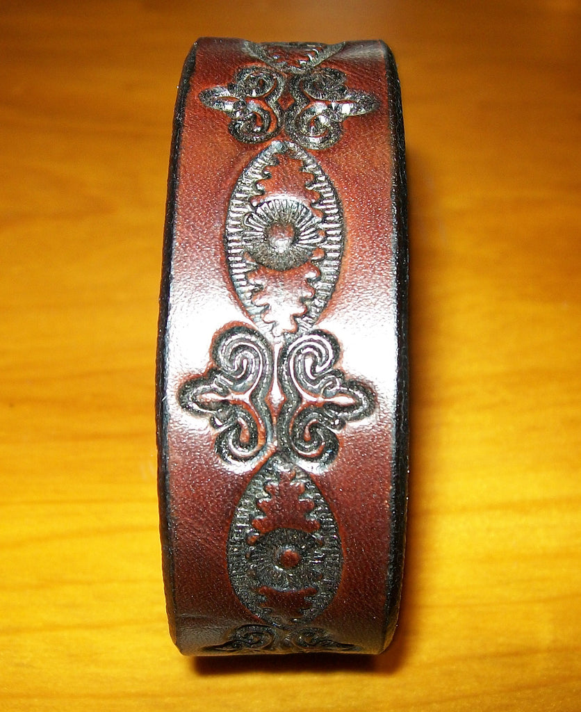 One Inch Tooled Leather Wristband