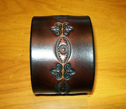 Dark Design Wide Leather Wristbands | Two Inch