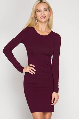 20f46427129d  10324 Simple long sleeve plum dress knee length
