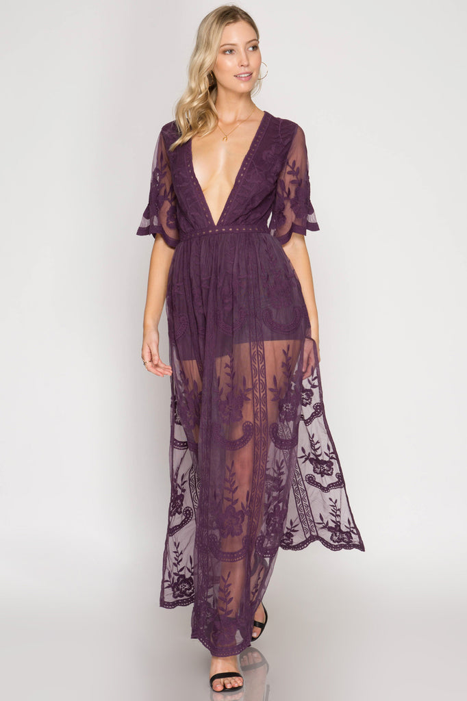 1d402de06338 Purple Maxi Romper with Deep V-Neck – The Closet Monster