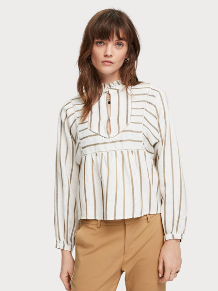 scotch and soda white linen top