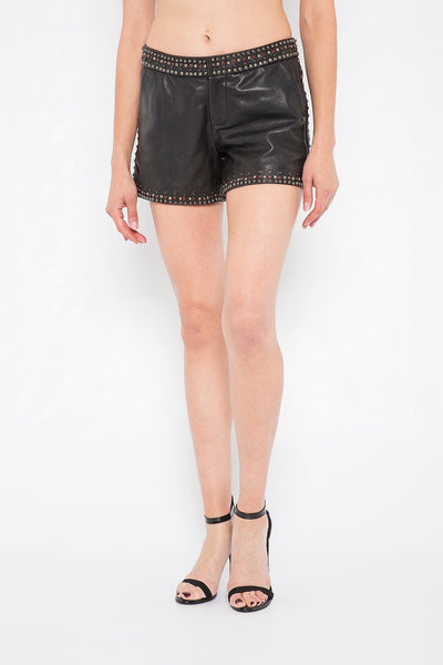 Black Studded Leather Shorts