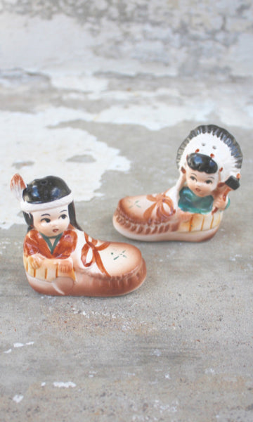 Little Native American Salt and Pepper Shakers