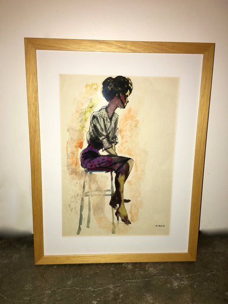 Vintage Ralph White Seated Woman Watercolor