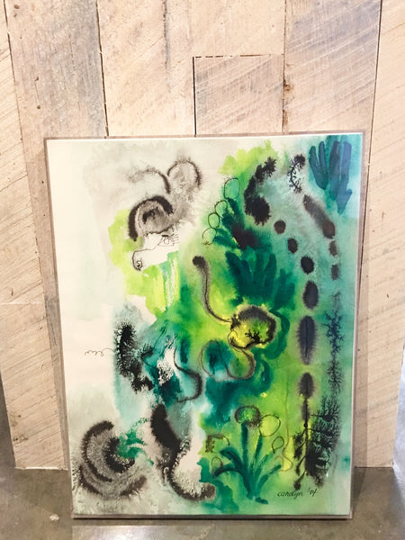 Vintage Colorful Inkblot Watercolor Caroline 1974