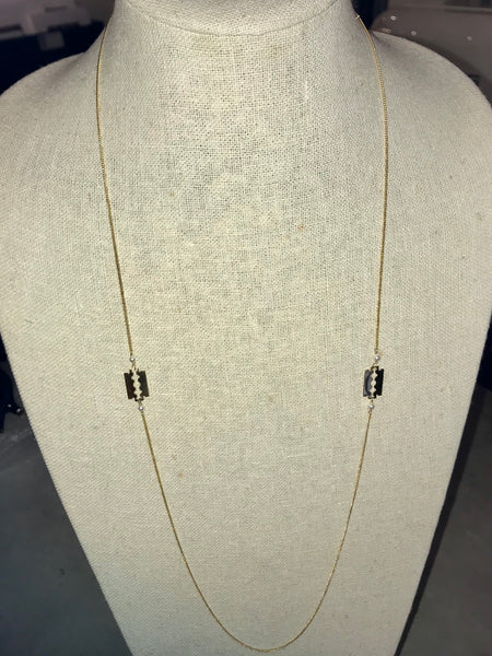 Double Razor Blade Necklace