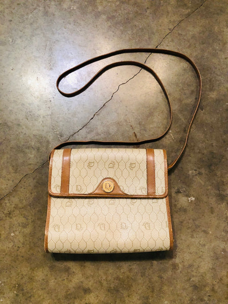Vintage Dior Coated Canvas Crossbody Bag