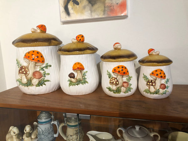 Set of Four 1960s Mushroom Canisters