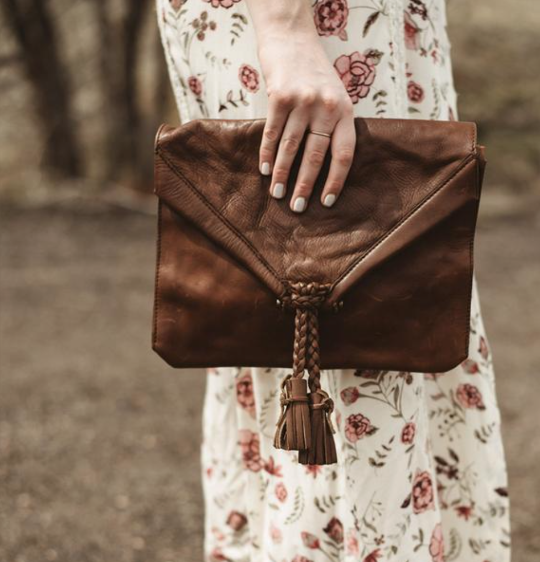Distressed Cognac Envelope Crossbody Purse