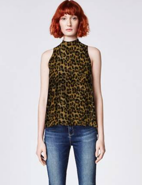 High-Neck Sleeveless Leopard Tank