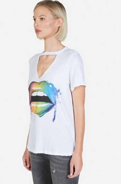 Smudged Rainbow Mouth Cutout Tee