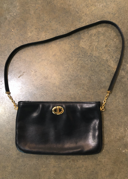 Vintage Dior Black Leather Shoulder Bag