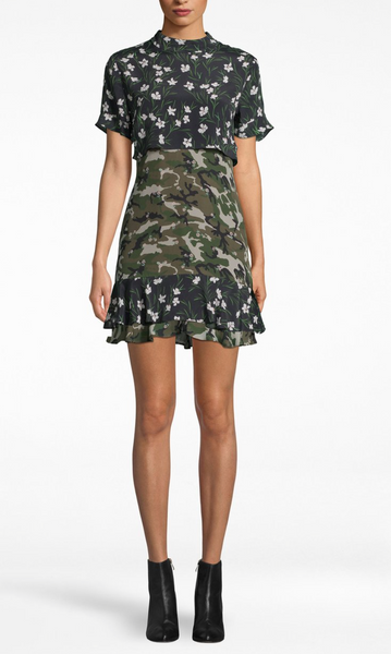 Floral Camo Mock Neck Dress