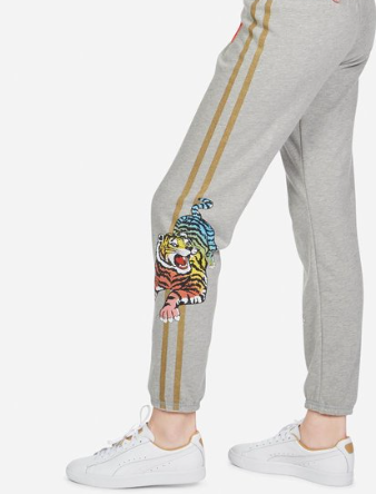 Heather grey sweatpants with tiger