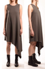 Sheath dress with asymmetrical hem