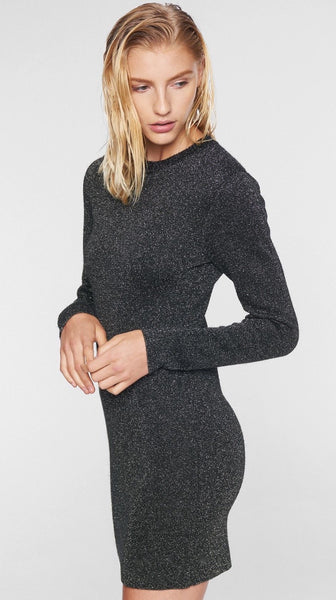 Pewter Lurex Crew Neck Dress