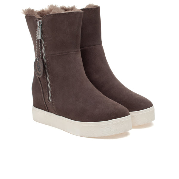 Taupe suede wedge bootie