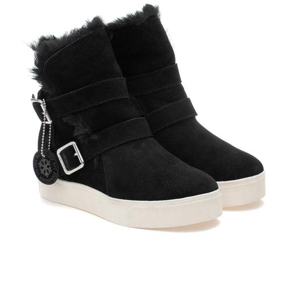 wedge bootie waterproof black suede