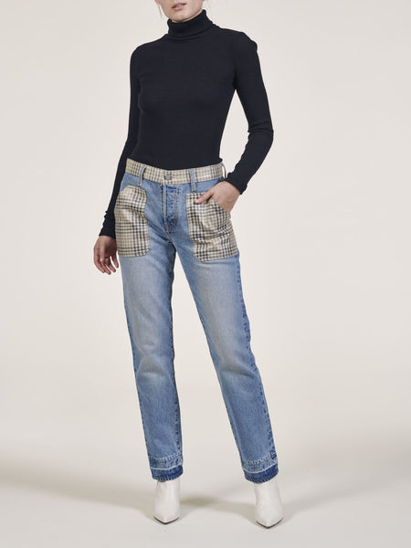 Plaid Block High Waist Jean