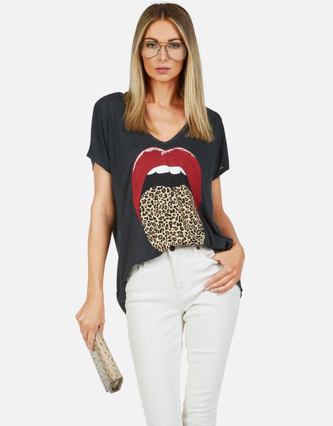 Leopard Tongue Oversized V-Neck